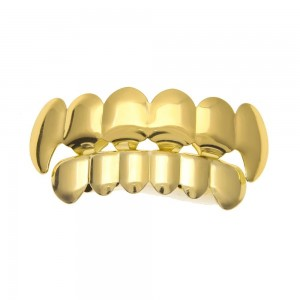 14K Gold Plated Hip Hop Teeth Grillz Caps Top & Bottom Grill Fang Set