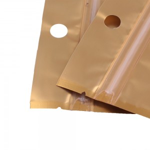 Translucent and Gold Mylar Flat Ziplock Bags w/ Hanghole 8.5 cm x 13 cm [3.3 inches x 5.1 inches] (500 Bags/Lot)