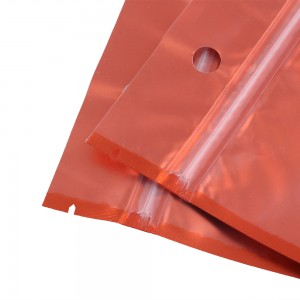 Translucent and Orange Mylar Flat Ziplock Bags w/Hanghole 8.5 cm x 13 cm [3.3 inches x 5.1 inches] (500 Bags/Lot)