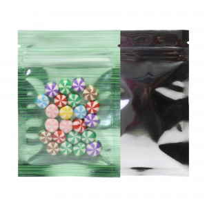 Glossy Clear Front Green Stripe Inside Silver Backing Metallic Mylar Flat Ziplock Bag 7 cm x 10 cm [2.8 inches x 3.9 inches] (500 Bags/Lot)