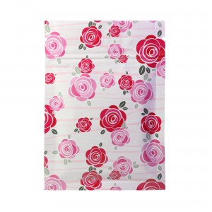 Pink with Red Flowers Design Glossy Mylar Flat Ziplock Bag 8 cm x 12 cm [3 inches x 4.75 inches] (500 Bags/Lot)