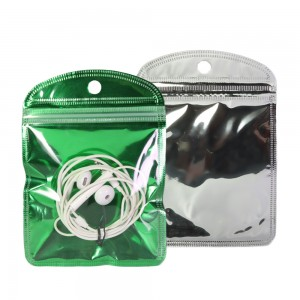 Clear and Green Glossy Mylar Rounded Corner Ziplock Bag with Hang Hole 10 cm x 15 cm [4 inches x 6 inches] (500 Bags/Lot)