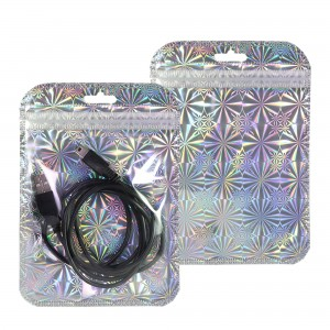Clear and Silver Hologram Mylar Rounded Corner Ziplock Bag with Butterfly Hang Hole 10 cm x 15 cm [4 inches x 6 inches] (500 Bags/Lot)