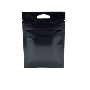 Glossy Black Metallic Mylar Ziplock Bags with Triangle Hang Hole 8 cm x 11 cm [3.1 inches x 4.3 inches] (500 Bags/Lot)