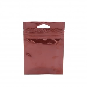 Glossy Brown Metallic Mylar Ziplock Bags with Triangle Hang Hole 8 cm x 11 cm [3.1 inches x 4.3 inches] (500 Bags/Lot)