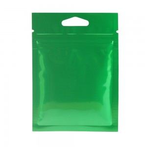 Glossy Green Metallic Mylar Ziplock Bags with Triangle Hang Hole 8 cm x 11 cm [3.1 inches x 4.3 inches] (500 Bags/Lot)