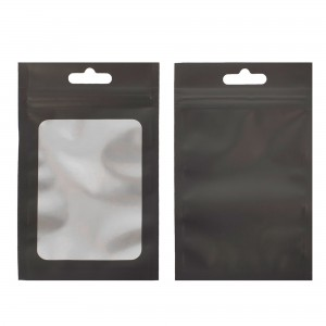 Translucent and Black Border Window Mylar Flat Ziplock Bags with Butterfly Hang Hole 8 cm x 13 cm [3 inches x 5 inches] (500 Bags/Lot)