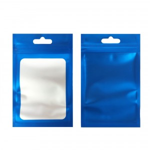 Translucent and Blue Border Window Mylar Flat Ziplock Bags with Butterfly Hang Hole 6 cm x 10 cm [2.4 inches x 3.9 inches] (500 Bags/Lot)