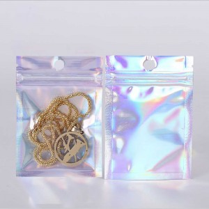 Clear and Silver Hologram Metallic Mylar Flat Ziplock Bags with Round Hang-Hole 14 cm x 20 cm [5.5 inches x 7.9 inches] (500 Bags/Lot)