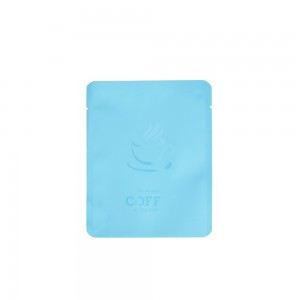 Blue Coffee Imprint Design Mylar Foil Flat Open Bottom Bags 10 cm x 12 cm [4 inches x 4.7 inches] (500 Bags/Lot)