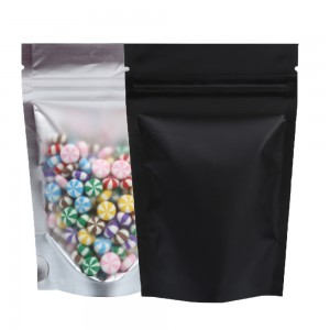 Translucent & Black Metallic Foil Stand-Up Ziplock Bags 8.5 cm x 13 cm [3.3 inches x 5.1 inches] (500 Bags/Lot)