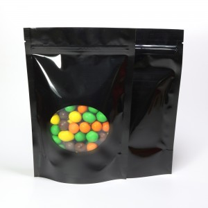 Glossy Black Clear Round Window Metallic Foil Standup Ziplock Bags 8.5 cm x 14 cm [3.3 inches x 5.5 inches] (500 Bags/Lot)