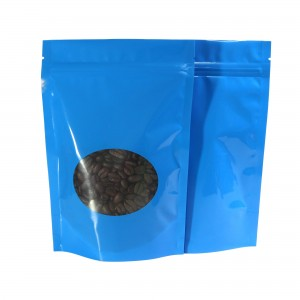 Glossy Blue Clear Round Window Metallic Foil Standup Ziplock Bags 8.5 cm x 14 cm [3.3 inches x 5.5 inches] (500 Bags/Lot)