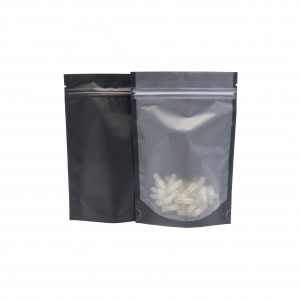 Translucent and Black Stand-Up Poly Plastic Ziplock Bags 15x 23 cm [6 inches x 9 inches] (500 Bags/Lot)