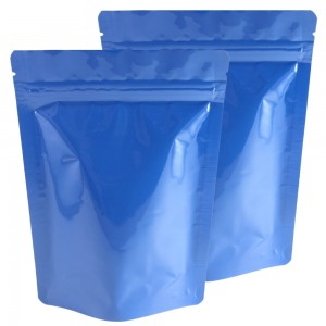 Glossy Blue Aluminum Foil Stand-Up Ziplock Bags 13 cm x 18 cm [5 inches x 7 inches] (500 Bags/Lot)