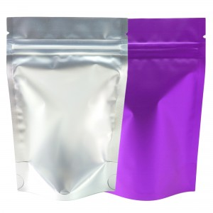 Translucent & Purple Metallic Foil Stand-Up Ziplock Bags 8.5 cm x 13 cm [3.3 inches x 5.1 inches] (500 Bags/Lot)