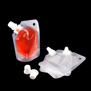 1.69 oz (50 ml) Transparent Clear Beverage Stand-Up Reusable Side Screw Cap Spout Key Ring Hole Pouch Bottles (250 Bags/Lot)