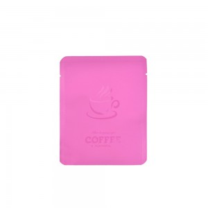 Pink Coffee Imprint Design Mylar Foil Flat Open Bottom Bags 10 cm x 12 cm [4 inches x 4.7 inches] (500 Bags/Lot)