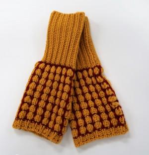 KBB Orange & Red Stripe Design Winter Fingerless Gloves (3 Gloves/Lot)