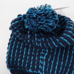 KBB Navy Blue & Turquoise Stripe Design Beanie Hat w/ Pom Pom (3 Hats/Lot)