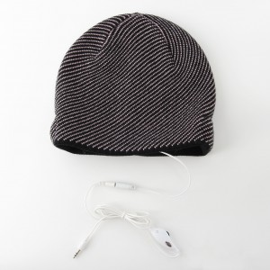 KBB Gray Striated Knotted Headphone Beanie Hat (3 Hats/Lot)