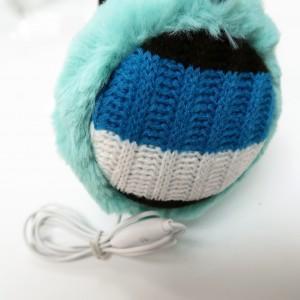 KBB Blue, White & Black Stripe Pattern Design Knitted Earmuffs w/ Audiojack (3 Earmuffs/Lot)