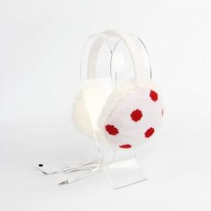 KBB White & Red Round Pattern Design Earmuffs w/ Audiojack (3 Earmuffs/Lot)
