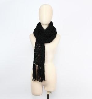 KBB Black Big Lace Design Neck Warmer Scarf (3 Scarves/Lot)