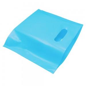 "Glossy Blue Reusable Bottom Gusset Die Cut Handle Bags 40 cm x 31 cm x 5 cm (15.5"" x 12"" x 1.75"") (600 Bags/Lot)"
