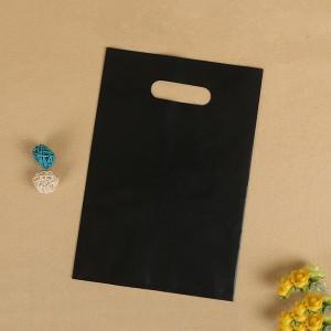 "Glossy Black Reusable Flat Die Cut Handle Bags 35 cm x 45 cm (13.5"" x 17.5"") (400 Bags/Lot)"