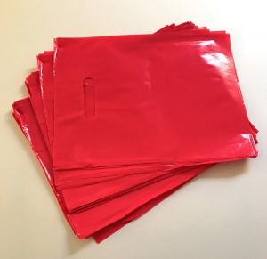 "Glossy Red Reusable Flat Die Cut Handle Bags 30 cm x 40 cm (11.75"" x 15.5"") (600 Bags/Lot)"