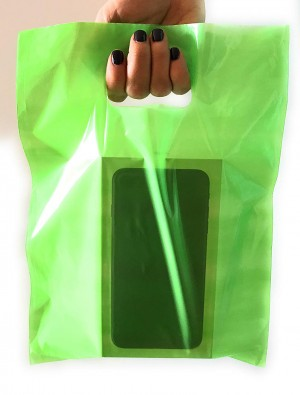 "Glossy Green Reusable Flat Die Cut Handle Bags 45 cm x 55 cm (17.5"" x 21.5"") (300 Bags/Lot)"