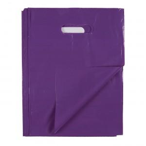 "Glossy Purple Reusable Flat Die Cut Handle Bags 25 cm x 35 cm (9.75"" x 13.5"") (700 Bags/Lot)"