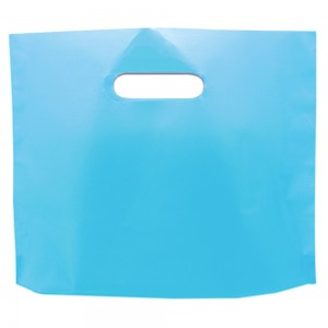 "Glossy Blue Reusable Bottom Gusset Die Cut Handle Bags 27 cm x 22 cm x 3 cm (10.5"" x 8.5"" x 1"") (1200 Bags/Lot)"