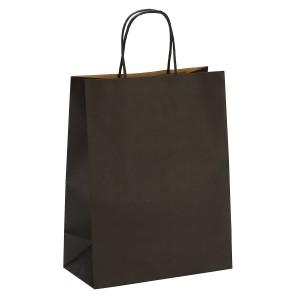 "Matte Black Kraft Paper Merchandise Shopping Bags 25 cm x 33 cm x 12 cm (9.75"" x 12.75"" x 4.5"") (100 Bags/Lot)"