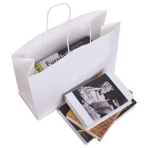 "Matte White Kraft Paper Merchandise Shopping Bags 32 cm x 25 cm x 11 cm (12.5"" x 9.75"" x 4.25"") (100 Bags/Lot)"