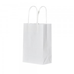 "Matte White Kraft Paper Merchandise Shopping Bags 15 cm x 21 cm x 8 cm (5.75"" x 8.25"" x 3"") (300 Bags/Lot)"