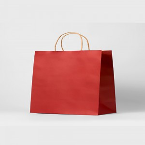 "Matte Red Kraft Paper Merchandise Shopping Bags 32 cm x 25 cm x 11 cm (12.5"" x 9.75"" x 4.25"") (100 Bags/Lot)"