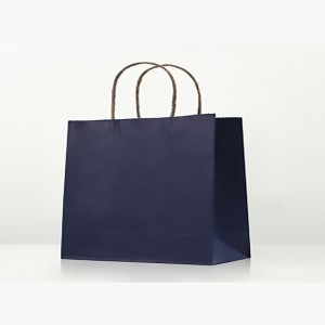 "Matte Blue Kraft Paper Merchandise Shopping Bags 32 cm x 25 cm x 11 cm (12.5"" x 9.75"" x 4.25"") (100 Bags/Lot)"