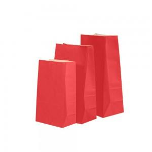 """Matte Red Kraft Paper Merchandise (Lunch/Favor) Bags 18 cm x 11 cm x 32 cm (7"""" x 4.25"""" x 12.5"""") (500 Bags/Lot)"""