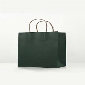 "Matte Green Kraft Paper Merchandise Shopping Bags 32 cm x 25 cm x 11 cm (12.5"" x 9.75"" x 4.25"") (100 Bags/Lot)"