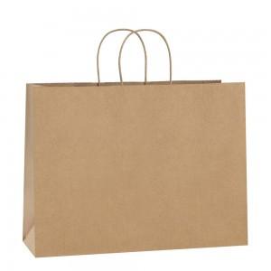"Matte Kraft Paper Merchandise Shopping Bags 32 cm x 25 cm x 11 cm (12.5"" x 9.75"" x 4.25"") (100 Bags/Lot)"