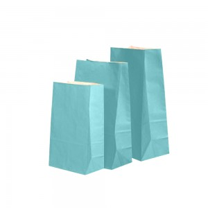 "Matte Blue Kraft Paper Merchandise (Lunch/Favor) Bags 13 cm x 8 cm x 24 cm (5"" x 3"" x 9.25"") (900 Bags/Lot)"