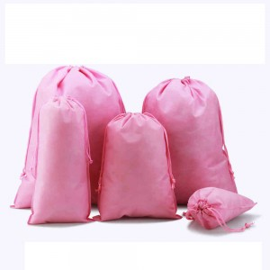 "Pink Reusable Non-Woven Drawstring Eco-Friendly Anti-Dust Travel Bags 25 cm x 35 cm (9.75"" x 13.75"") (600 Bags/Lot)"