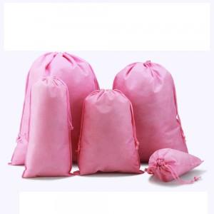 "Pink Reusable Non-Woven Drawstring Eco-Friendly Anti-Dust Travel Bags 35 cm x 45 cm (13.75"" x 17.5"") (400 Bags/Lot)"