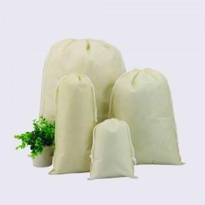 "Beige Reusable Non-Woven Drawstring Eco-Friendly Anti-Dust Travel Bags 20 cm x 28 cm (7.75"" x 11"") (700 Bags/Lot)"