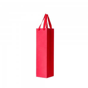"""Red Kraft Paper Bags with Cotton Twill Handle Shopping Bags 11 cm x 36 cm x 11 cm (4.25"""" x 14"""" x 4.25"""") (100 Bags/Lot)"""
