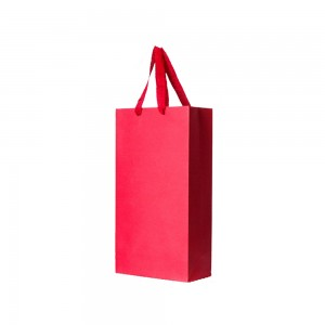 """Red Kraft Paper Bags with Cotton Twill Handle Shopping Bags 18 cm x 35 cm x 9.5 cm (7"""" x 13.75"""" x 3.75"""") (100 Bags/Lot)"""