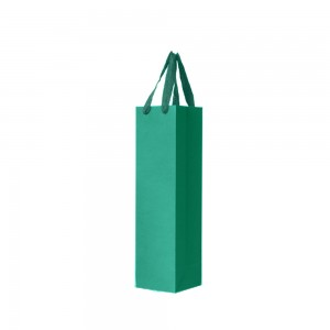 "Green Kraft Paper Bags with Cotton Twill Handle Shopping Bags 9 cm x 27 cm x 9 cm (3.5"" x 10.5"" x 3.5"") (200 Bags/Lot)"