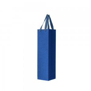 "Blue Kraft Paper Bags with Cotton Twill Handle Shopping Bags 13 cm x 35 cm x 6.2 cm (5"" x 13.75"" x 2.25"") (100 Bags/Lot)"
